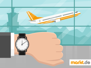 Grafik Flugzeug und Armbanduhr