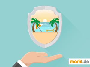 Grafik Hand hält Reiseversicherung