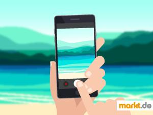 Grafik Smartphone mit Strandfoto